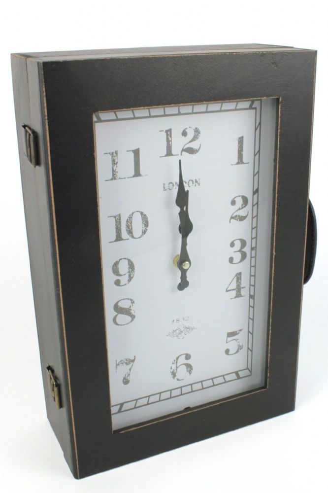 Vintage Finish Hallway Wall Clock Suitcase Key Cabinet